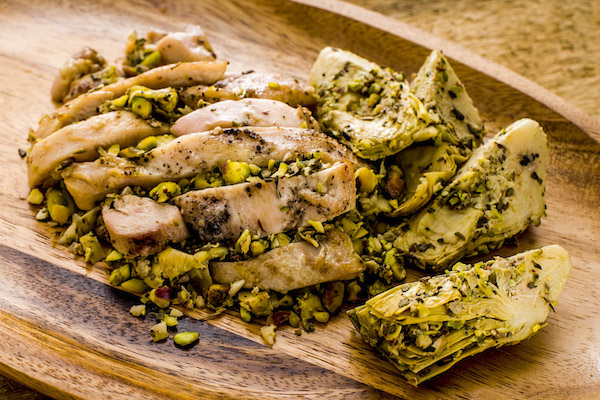 Flame-Kissed Chicken Thighs & Artichoke Salad