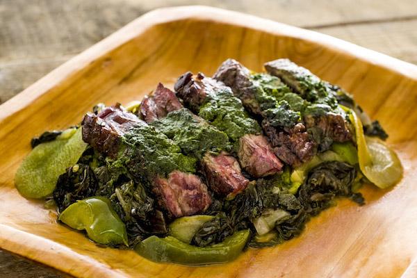 Cilantro Pesto Skirt Steak, Grilled Apples & Swiss Chard