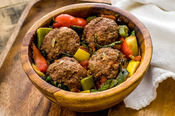 Bison & Beef Meatballs with Ratatouille